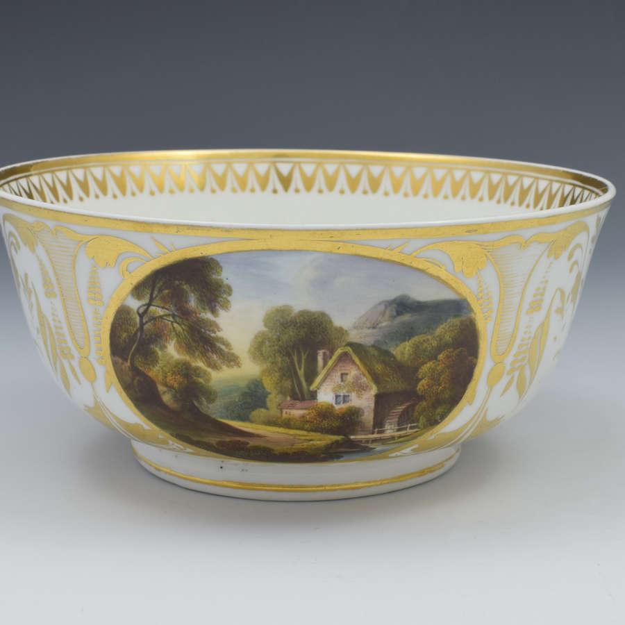 Large Georgian Derby Porcelain Named Landscape Views Slop Bowl