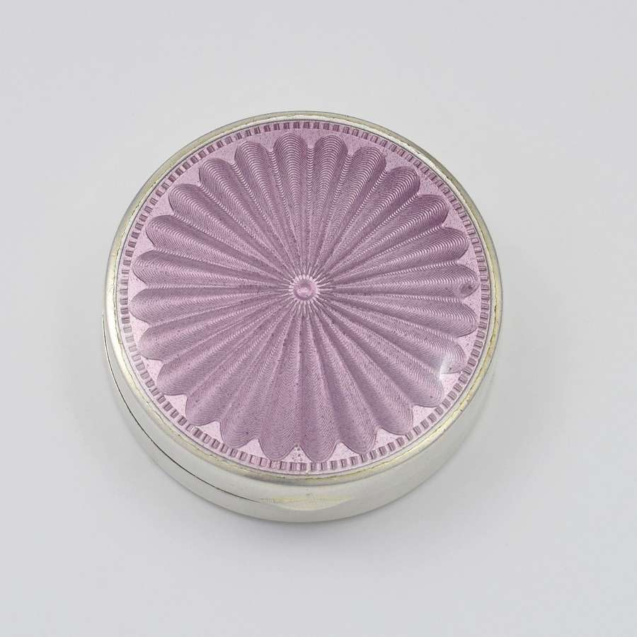 English Silver & Lilac Guilloche Enamel DQ Powder Box