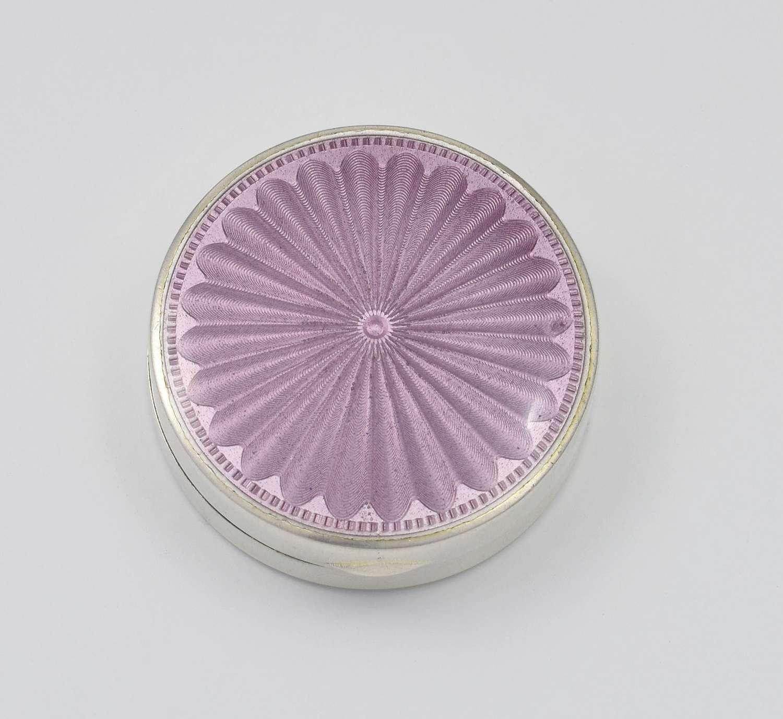English Silver & Lilac Guilloche Enamel DQ Powder Box