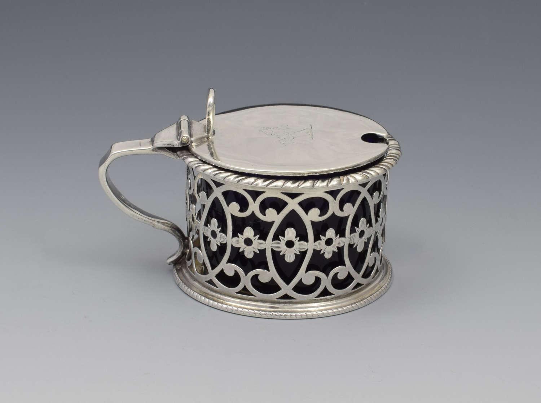 Georgian Pierced Silver Drum Mustard Pot 1773