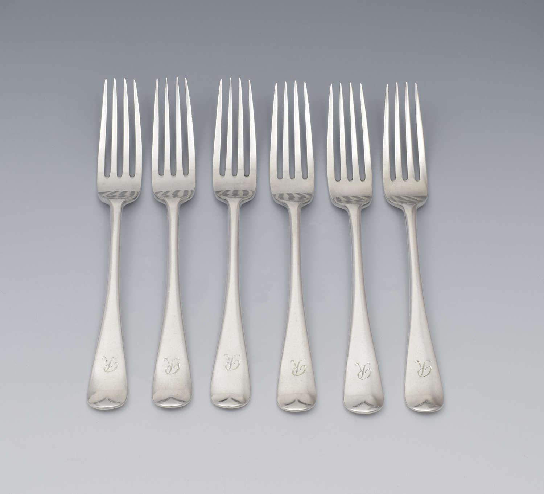 Set Of 6 George V Silver Dessert Forks London 1918