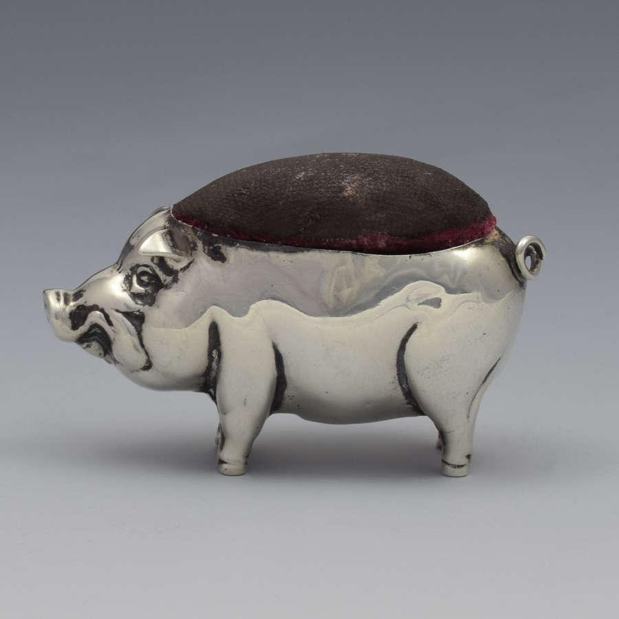 Edwardian Novelty Silver Pig Pin Cushion Henry Matthews 1908