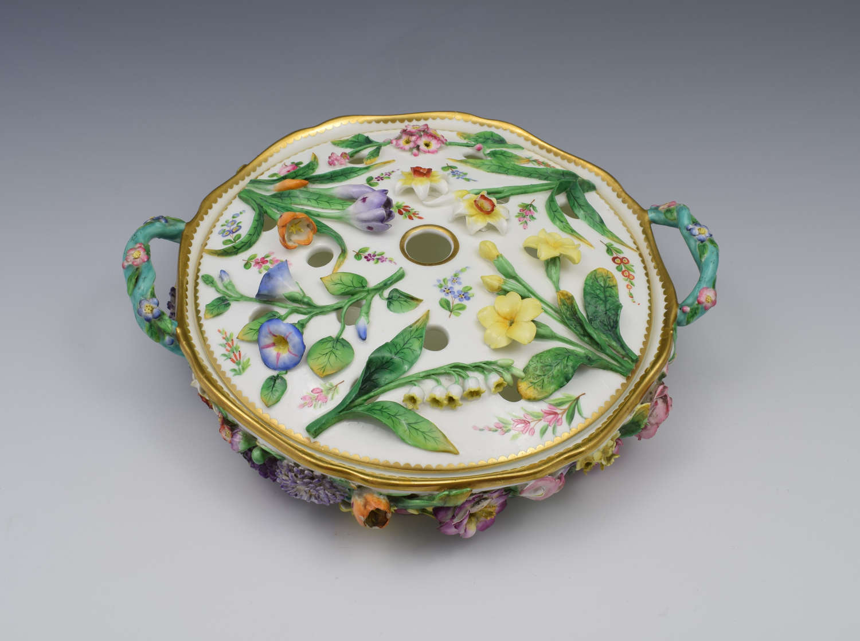 Fine Victorian Minton Regency Style Flower Encrusted Pot Pourri Dish