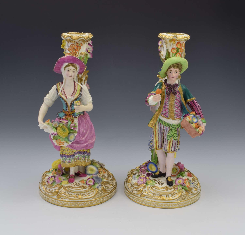 Fine Pair Of Minton Porcelain Figural Candlesticks Model No. 192
