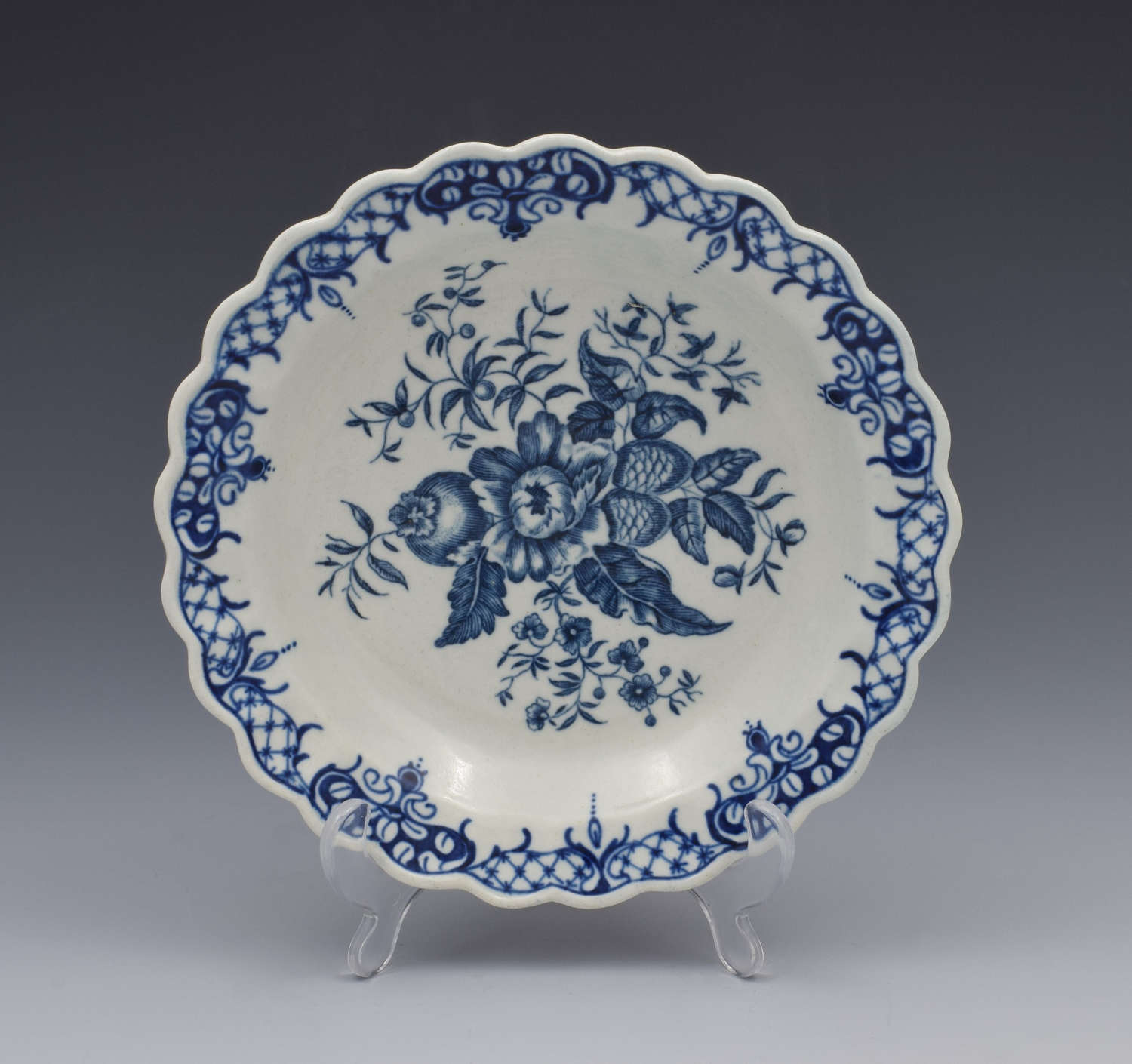 Very Small First Period Worcester Pine Cone Pattern Plate C.1775