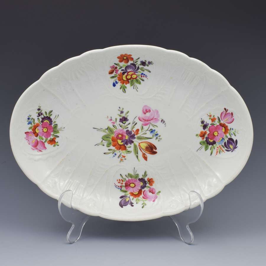 Georgian Coalport Blind Dulong Moulded Floral Oval Dish C.1815