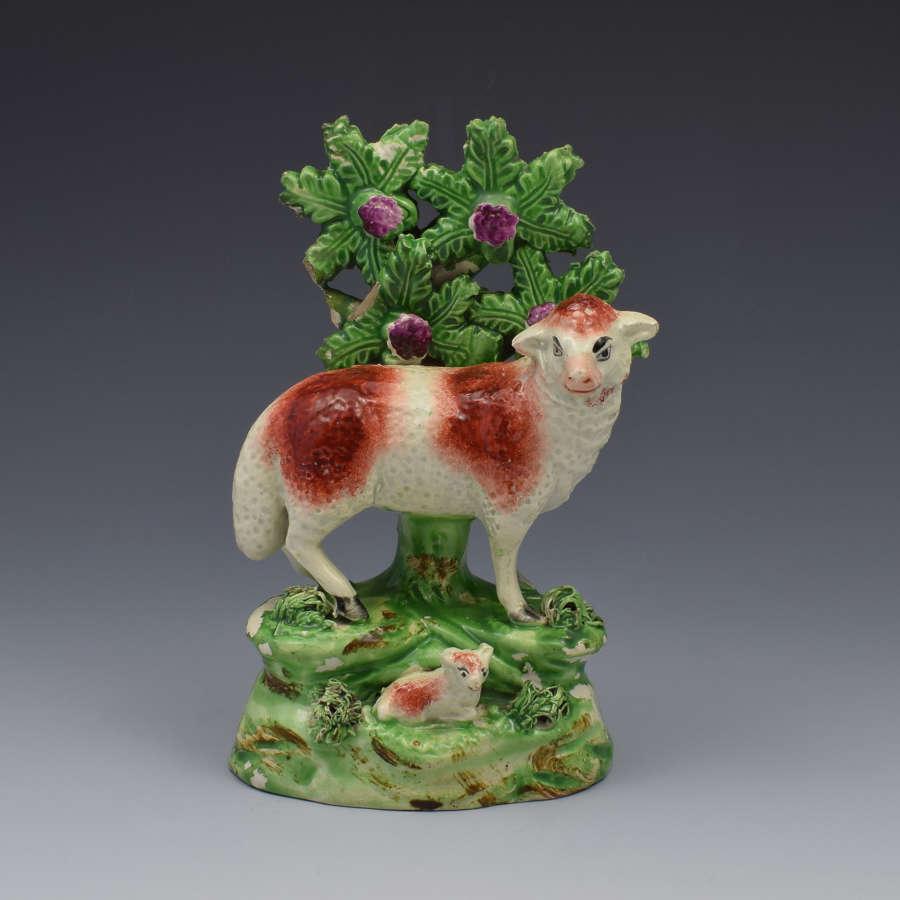 Staffordshire Pearlware Ralph Salt Figure Of Sheep & Lamb
