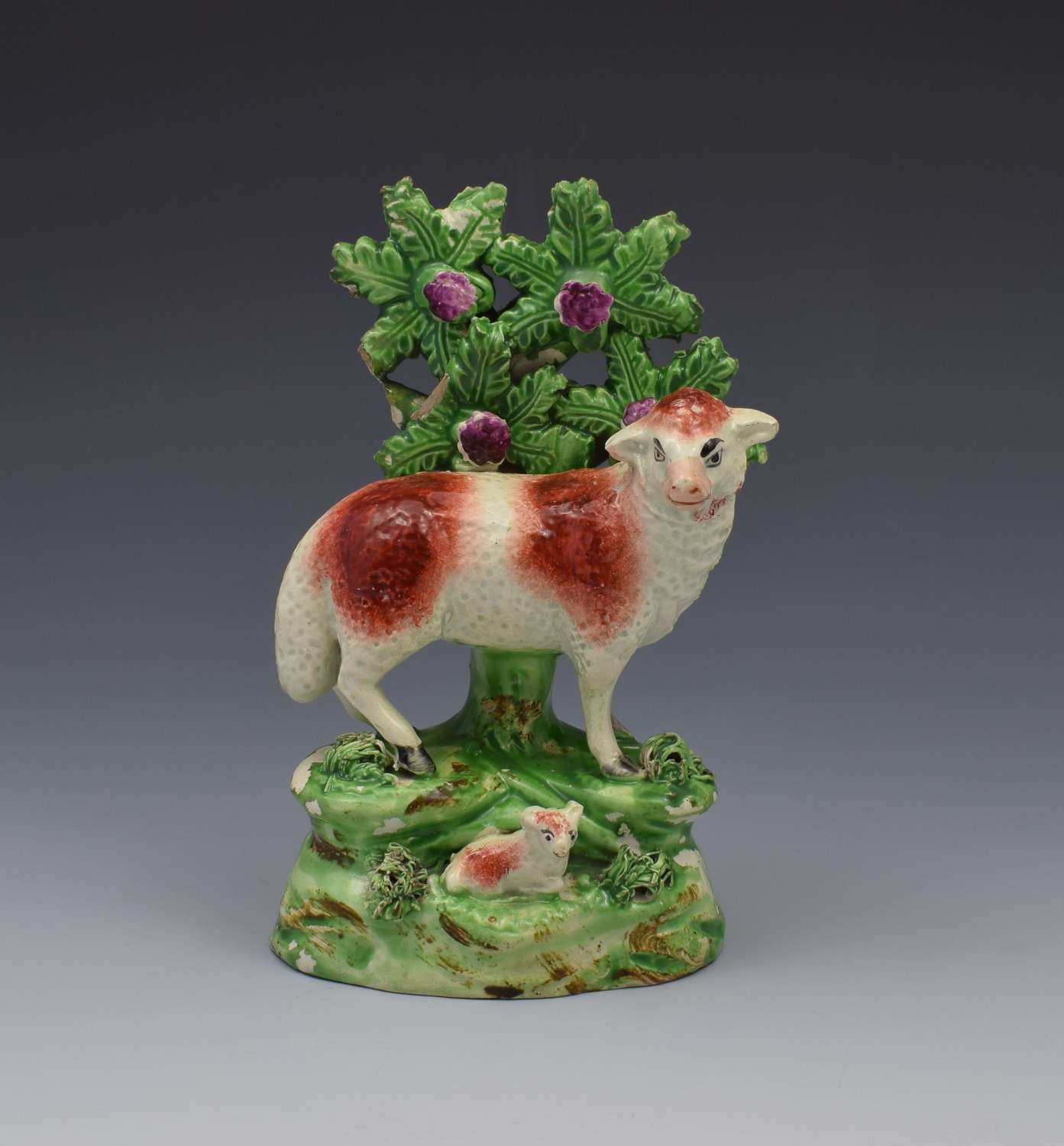 Staffordshire Pearlware Ralph Salt Figure Of Sheep & Lamb