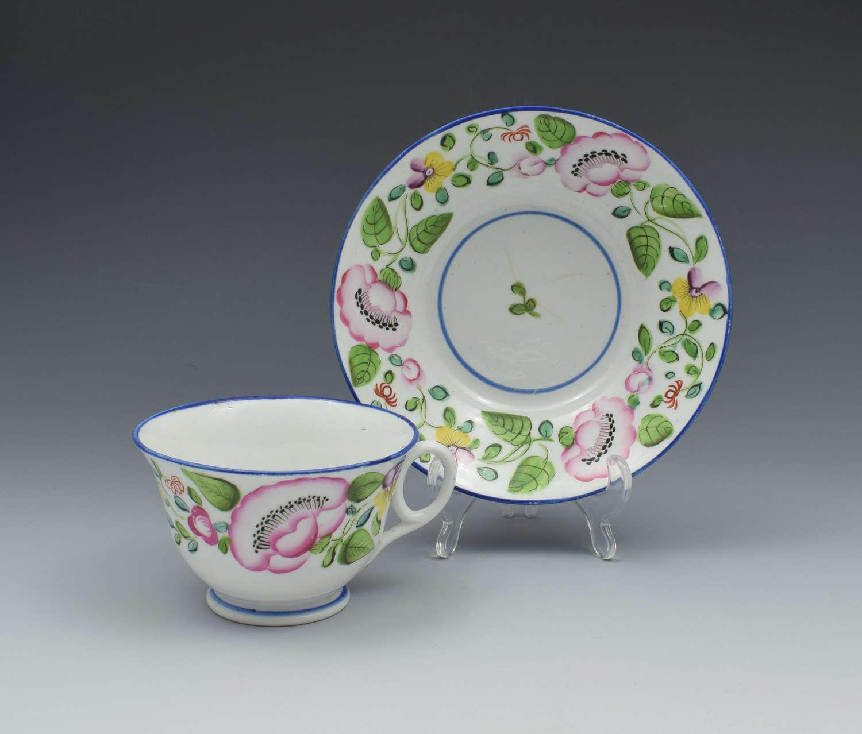 New Hall Tea Cup & Saucer London Shape Pattern 1485