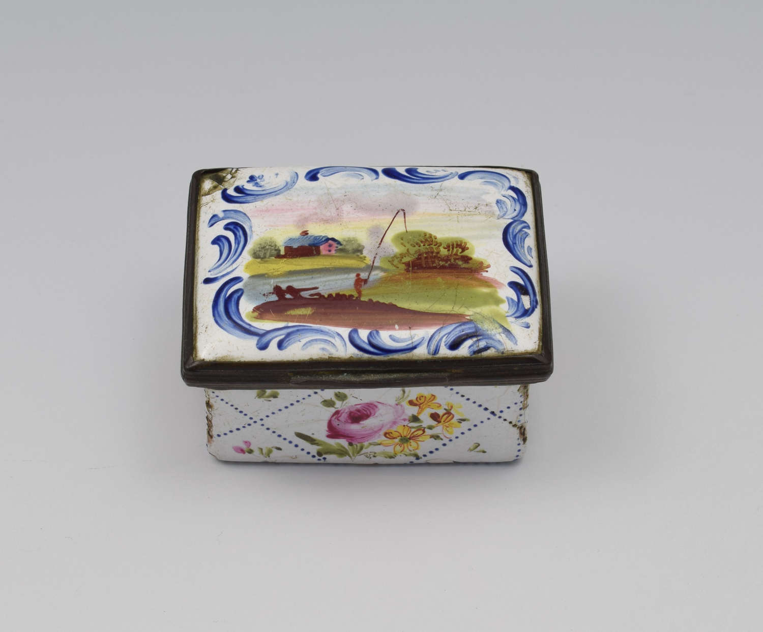 18th Century Staffordshire Bilston Enamel Fishing Scene Snuff Box