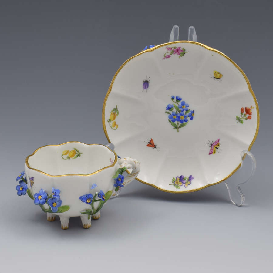 Meissen Forget-me-not Flower Encrusted Cabinet Cup & Saucer
