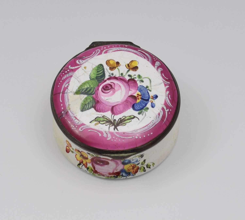 18th Century Staffordshire Bilston Enamel Floral Snuff Box