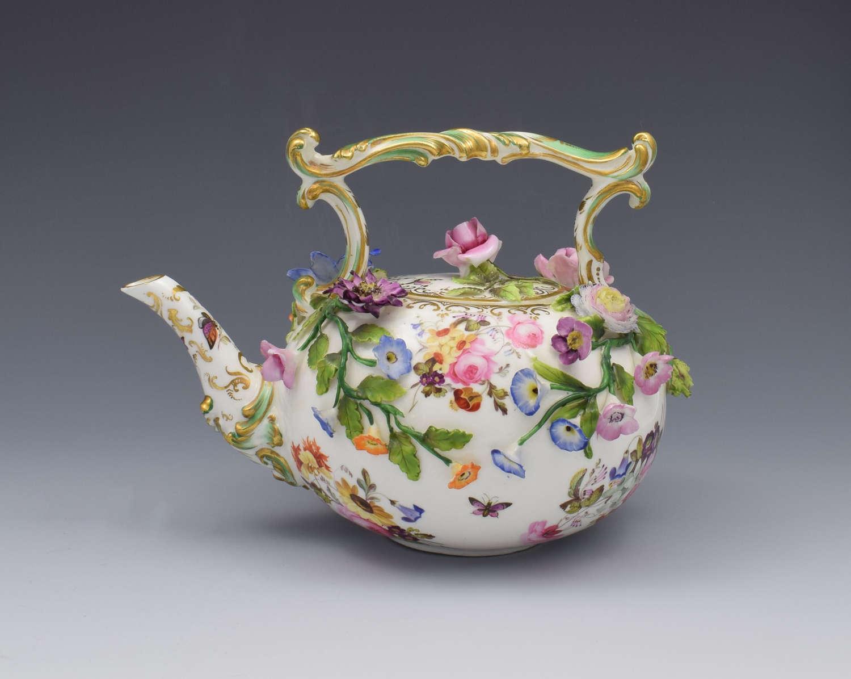 Rare Coalport Coalbrookdale Flower Encrusted Tea Kettle