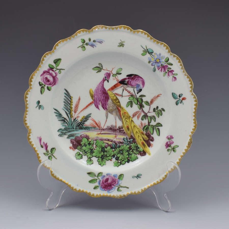 Pretty Bow Porcelain Fancy Bird Pattern Plate, C.1770