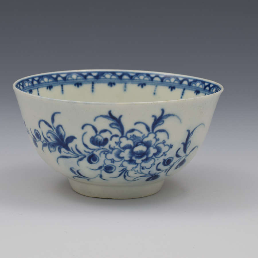 First Period Worcester Small Peony Pattern Porcelain Bowl