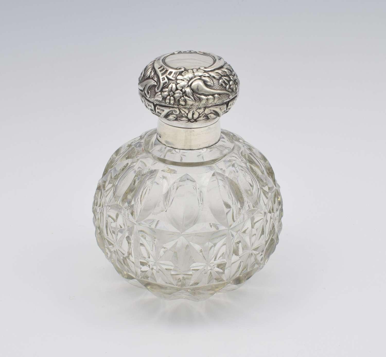 Large Edwardian Silver & Cut Glass Perfume Scent Bottle