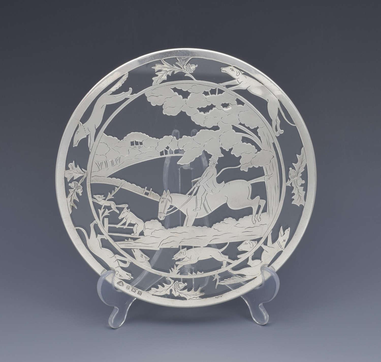 Art Deco Novelty Silver & Glass Teapot Stand Horse & Hounds Fox Huntin