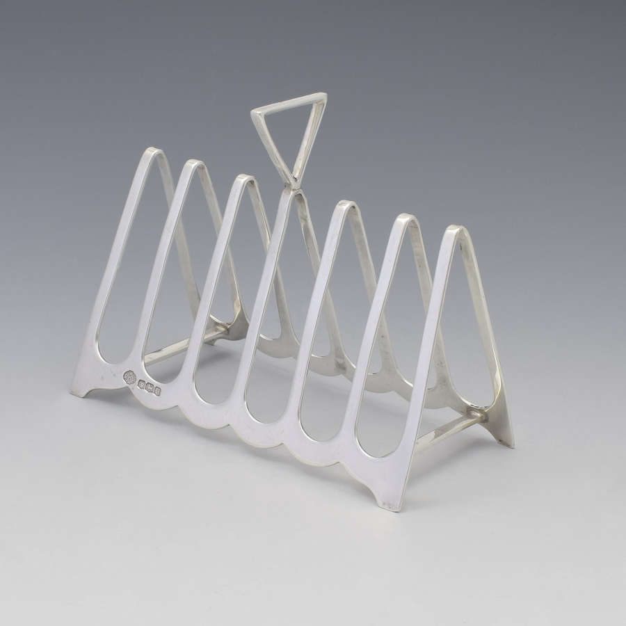 Art Deco Silver Triangular 6 Slice Toast Rack William Hutton