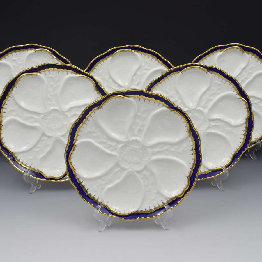 Set Of 6 Victorian Coalport Oyster Plates
