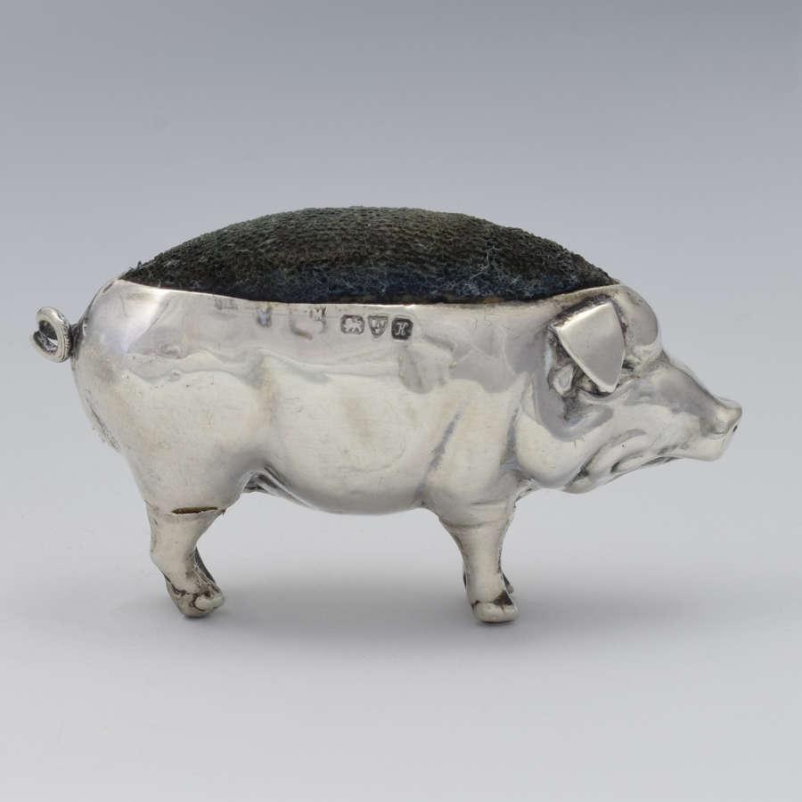 Edwardian Novelty Silver Pig Pin Cushion Chester 1910