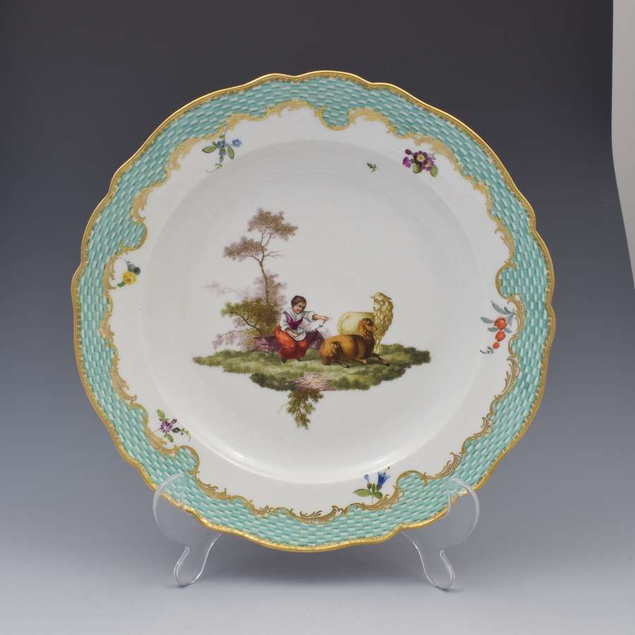 18th Century Meissen Dot Period Porcelain Plate