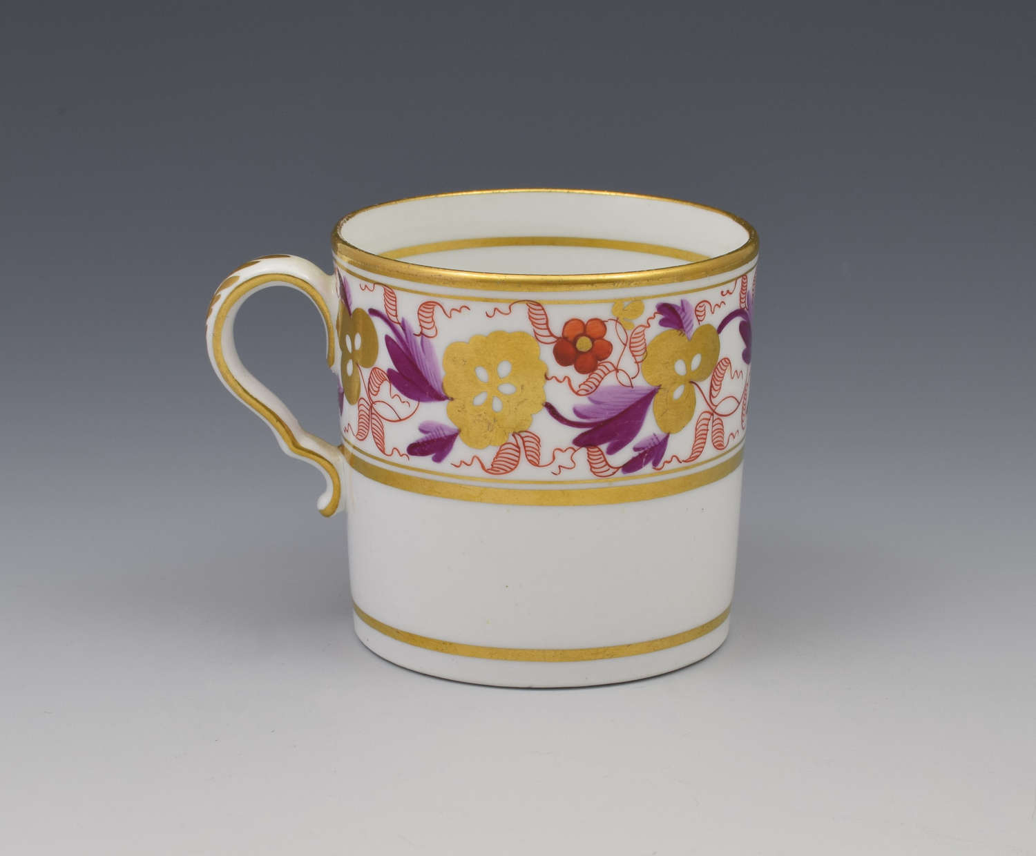 Spode Pretty Early 19thc Red & Purple Gilded Coffee Can 889