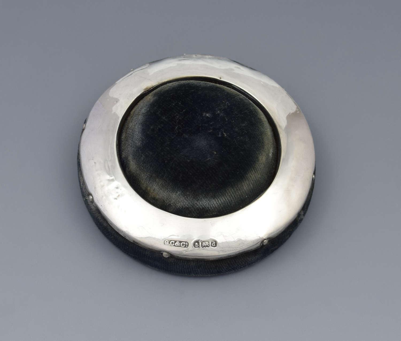 Edwardian Silver & Velvet Ring Pin Cushion / Hat Pin Stand