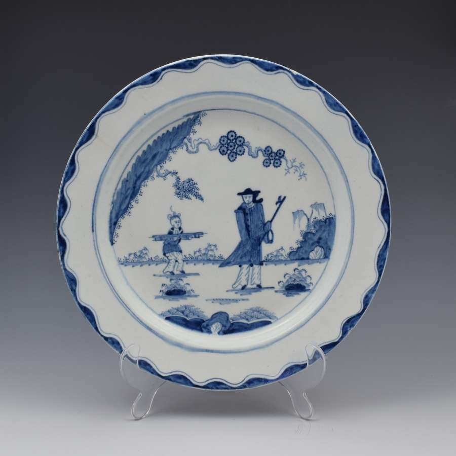 Large 18th Century Bow Porcelain Plate The Golfer & Caddy Pattern