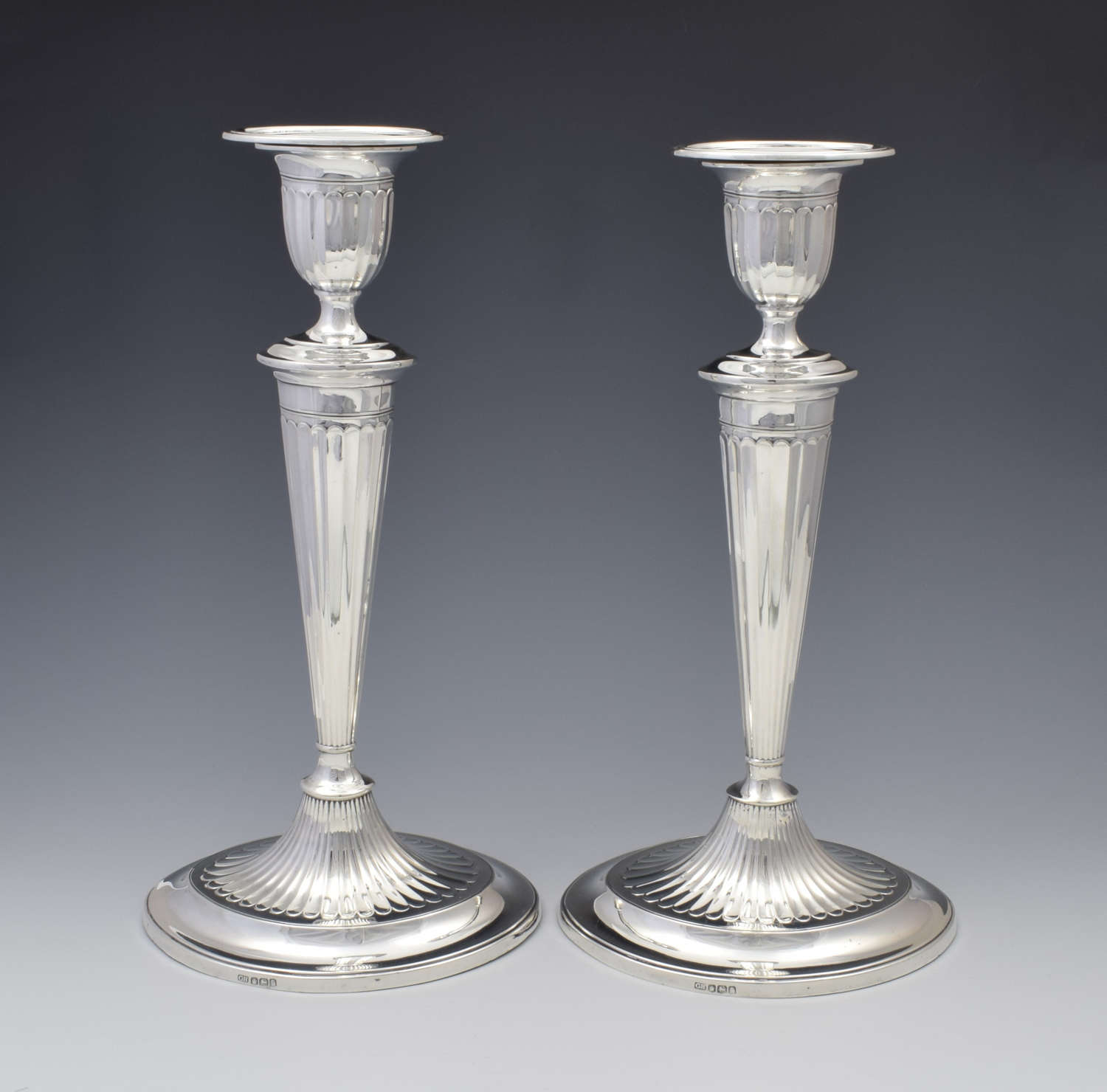 Large Pair Sterling Silver Adam Style Candlesticks Sheffield 1923