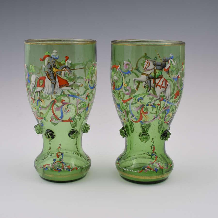 Pair Bohemian Meyr's Neffe Glass Enamelled Historismus Goblet Vases