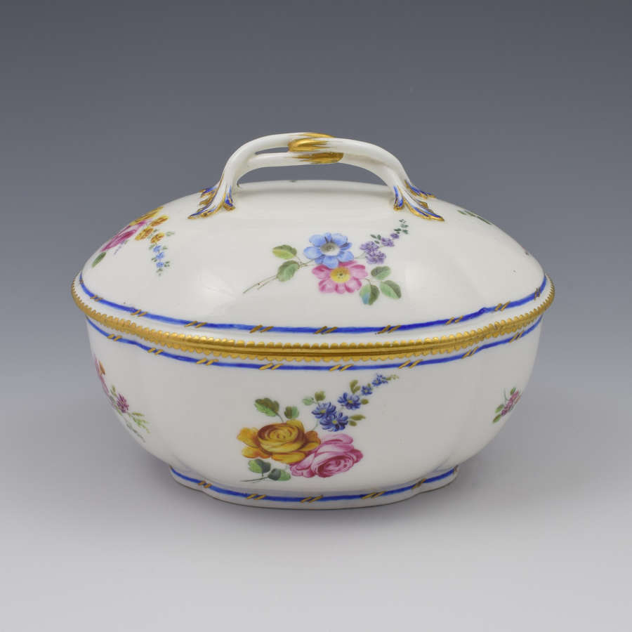 18th Century Sevres Porcelain Lidded Sucrier / Sugar Bowl 1754