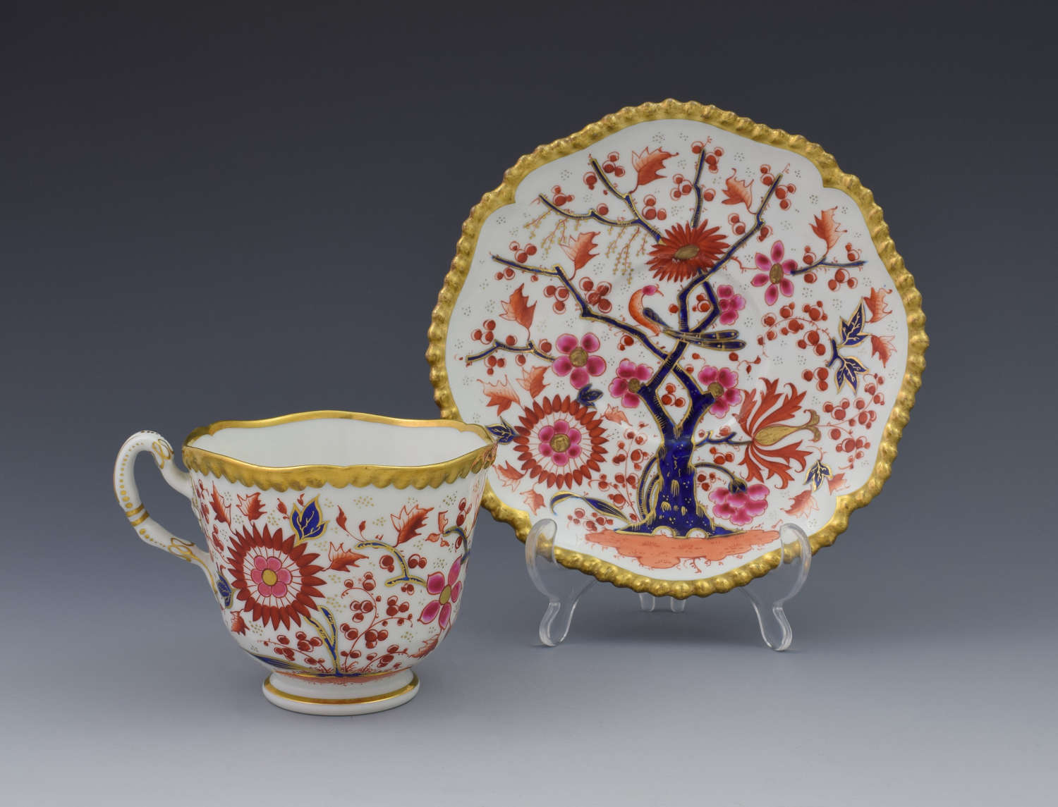 Worcester Flight Barr & Barr Gadrooned Coffee Cup & Saucer