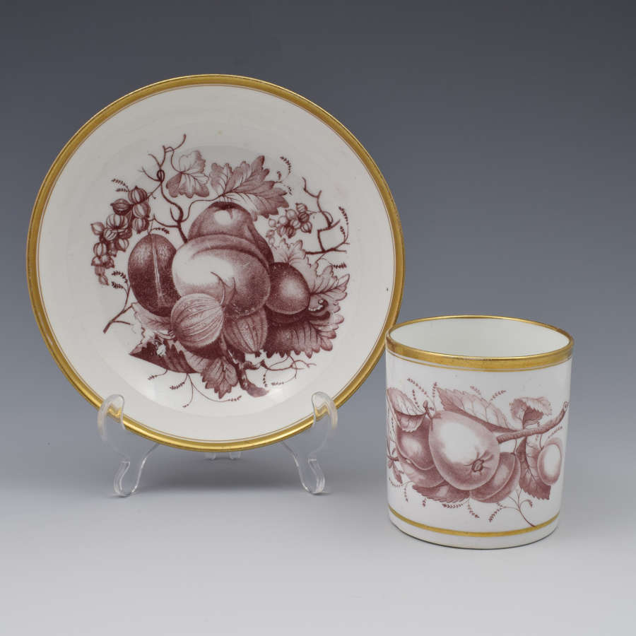 Spode Bat Print Fruit Pattern Coffee Can & Saucer C.1810