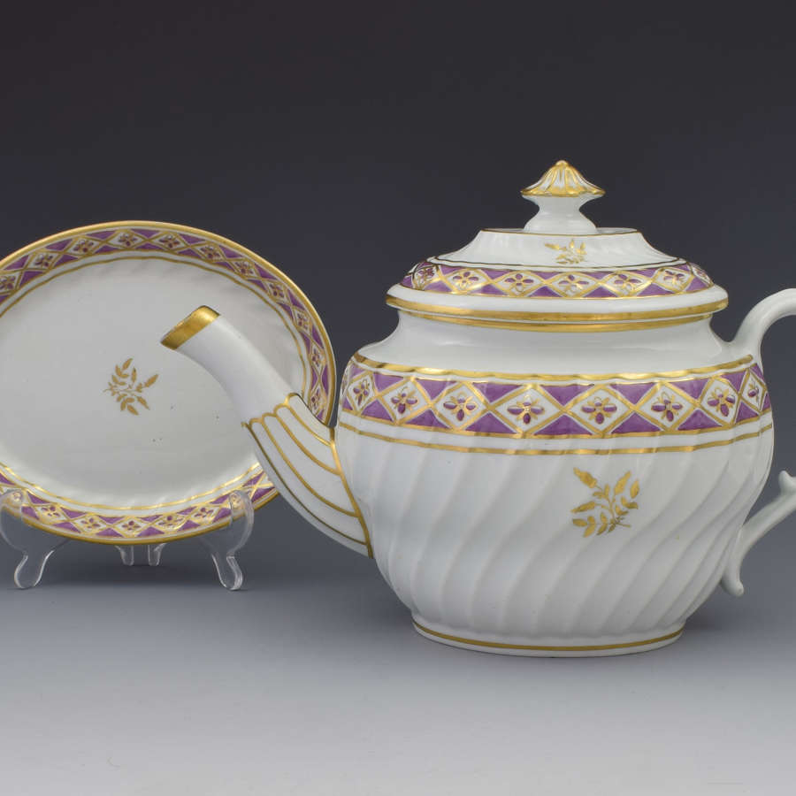 Pretty Georgian Coalport Shanked Teapot & Stand C.1800