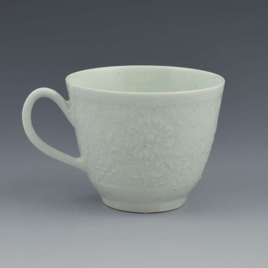 First Period Worcester Chrysanthemum Relief Moulded Coffee Cup