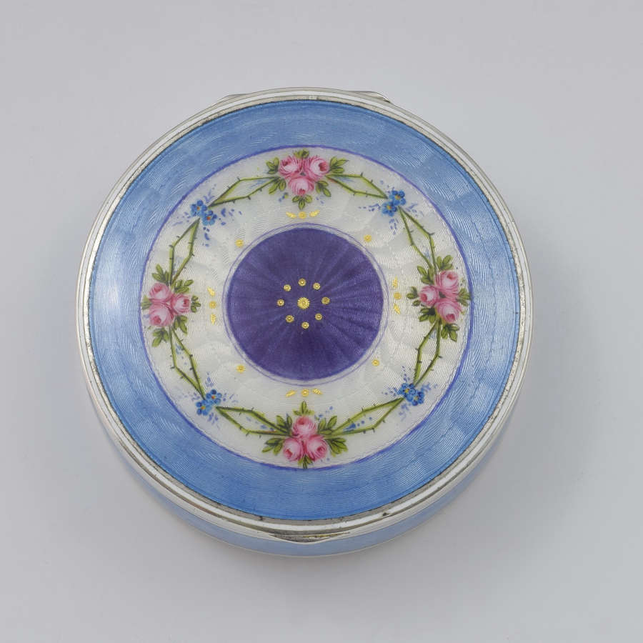 German Silver & Guilloche Enamel Box With Painted Flowers C.1920