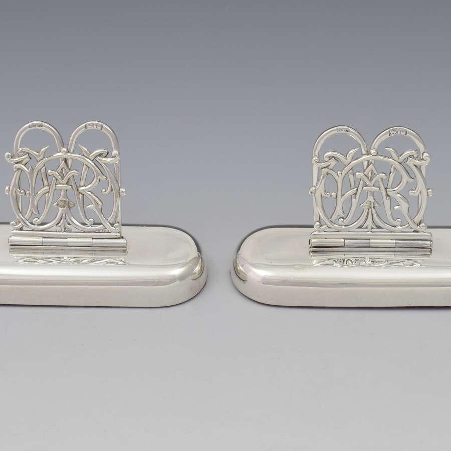 Pair Victorian Silver Custom Monogram Hinged Menu Place Card Holders