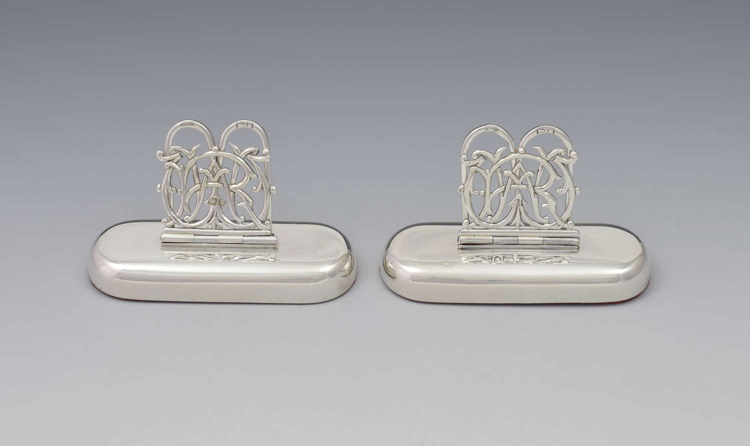 Pair Victorian Silver Custom Monogram Hinged Menu Place Card Holders