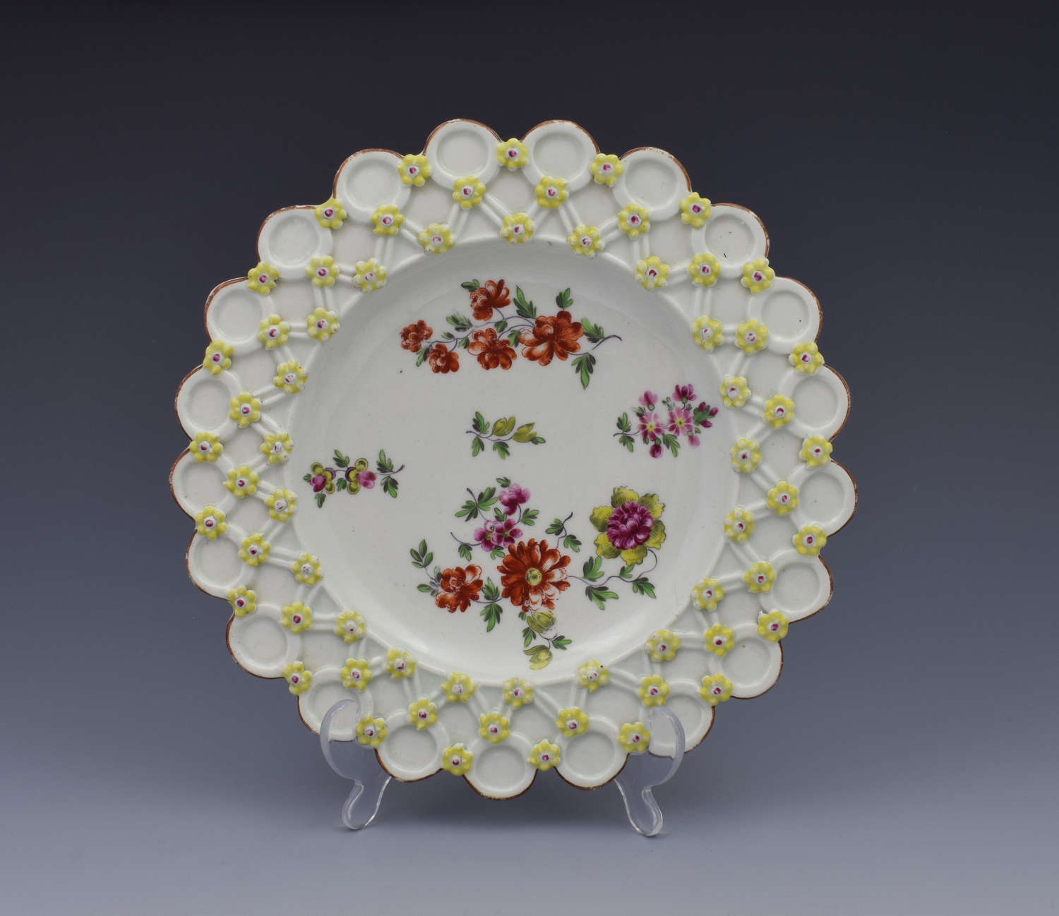 18th Century Derby Porcelain Spectacle Plate C.1760