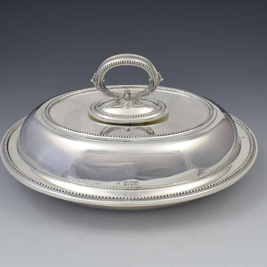 Edwardian Sterling Silver Oval Entree Dish, Hawksworth, Eyre & Co.