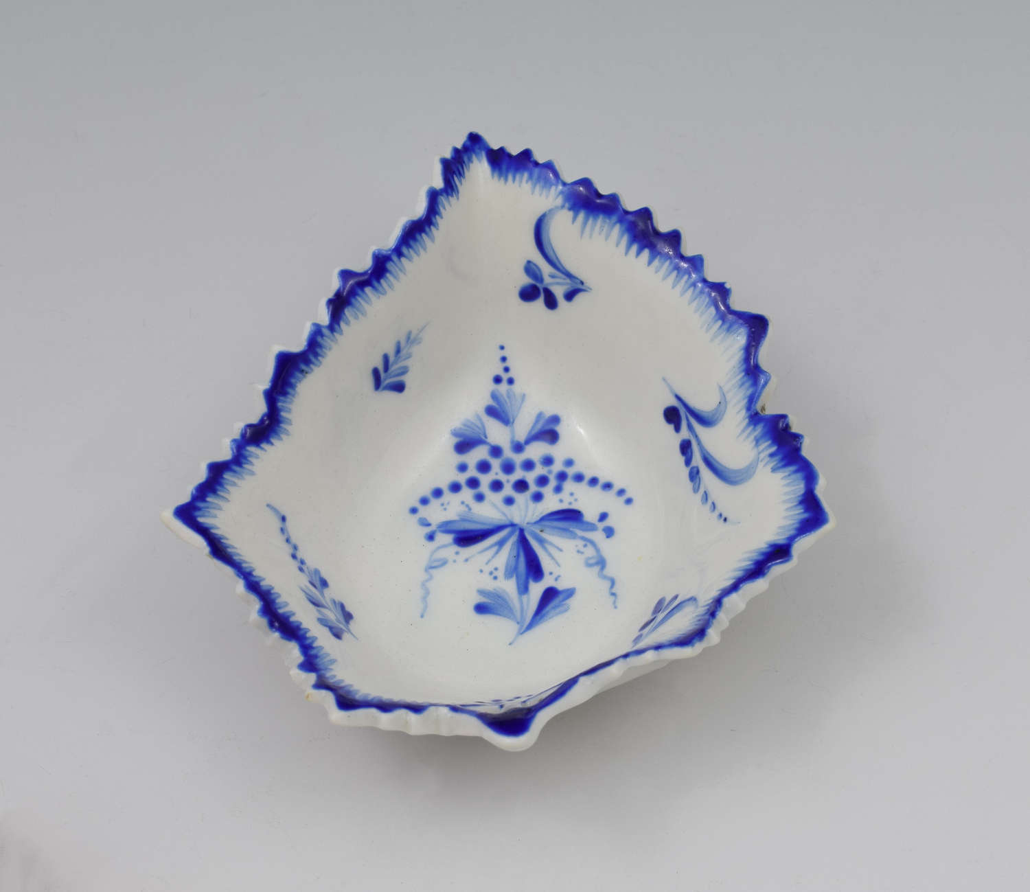 18th Century Derby Porcelain Blue & White Leaf Pickle Dish C.1775