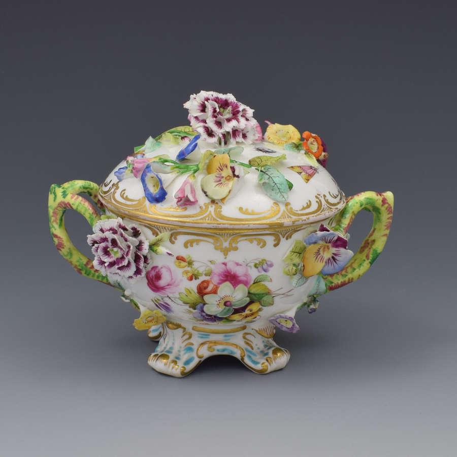 Coalport Coalbrookdale Style Flower Encrusted Cup & Cover