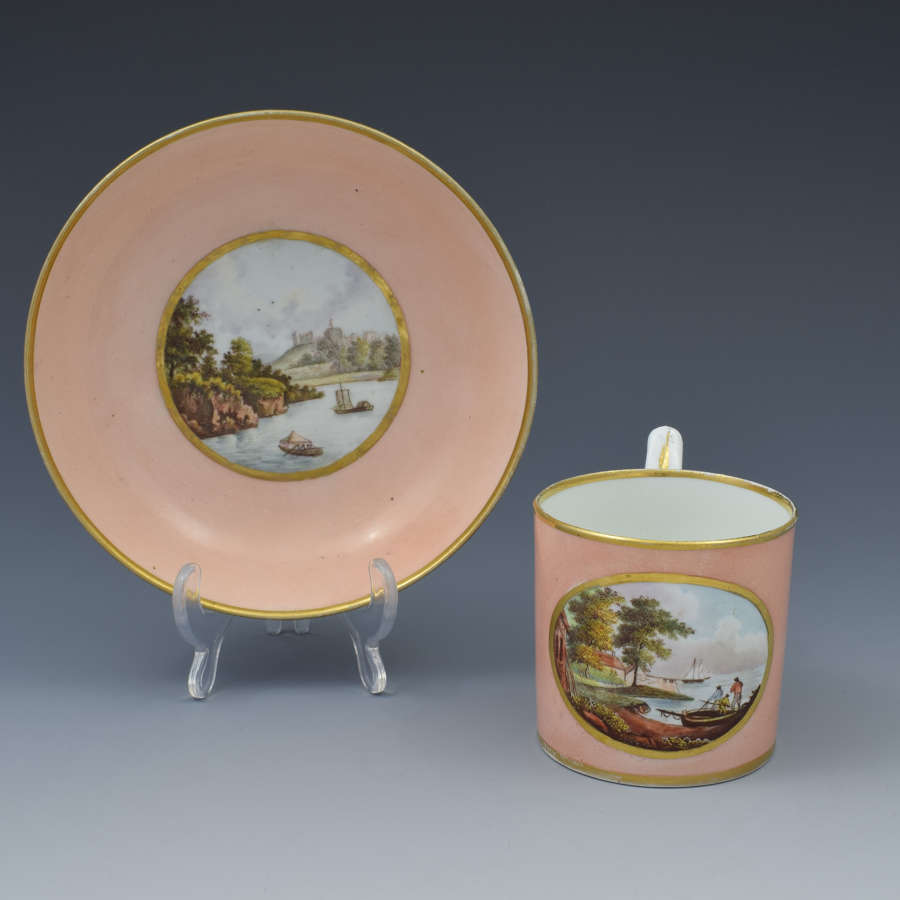 19th Century Derby Salmon Coffee Can & Saucer Cowes Castle & Windsor