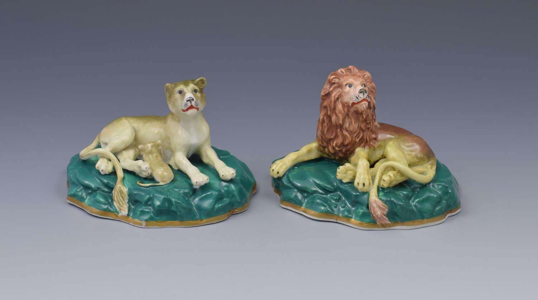 Pair Victorian Staffordshire Porcelain Lion & Lioness Figures C.1840