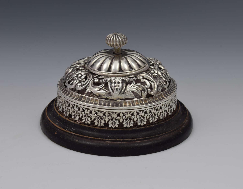 Victorian Silver Concierge Reception Counter Bell William Comyns
