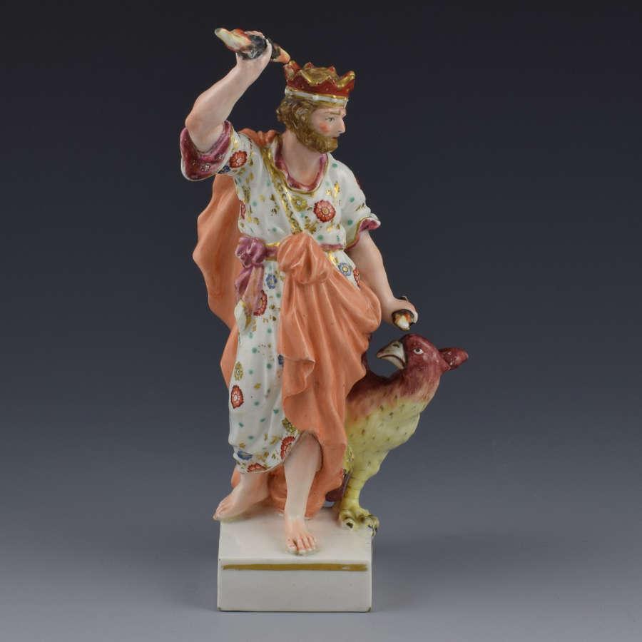 18th Century Derby Porcelain Figure Jupiter With Eagle C.1775
