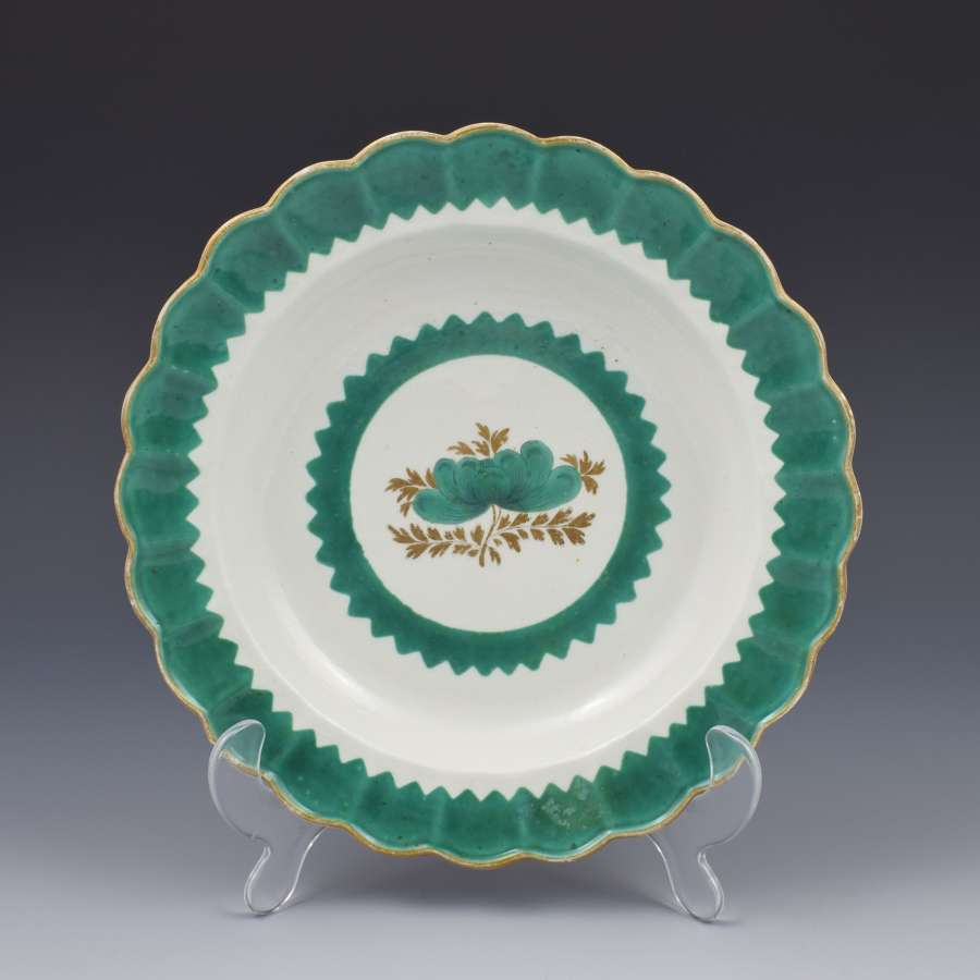 First Period Worcester Porcelain French Green Plate / Dish C.1770