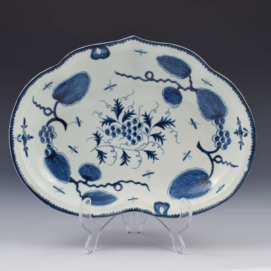 First Period Worcester Rubber Tree Plant Compotier Kidney Dish C.1770