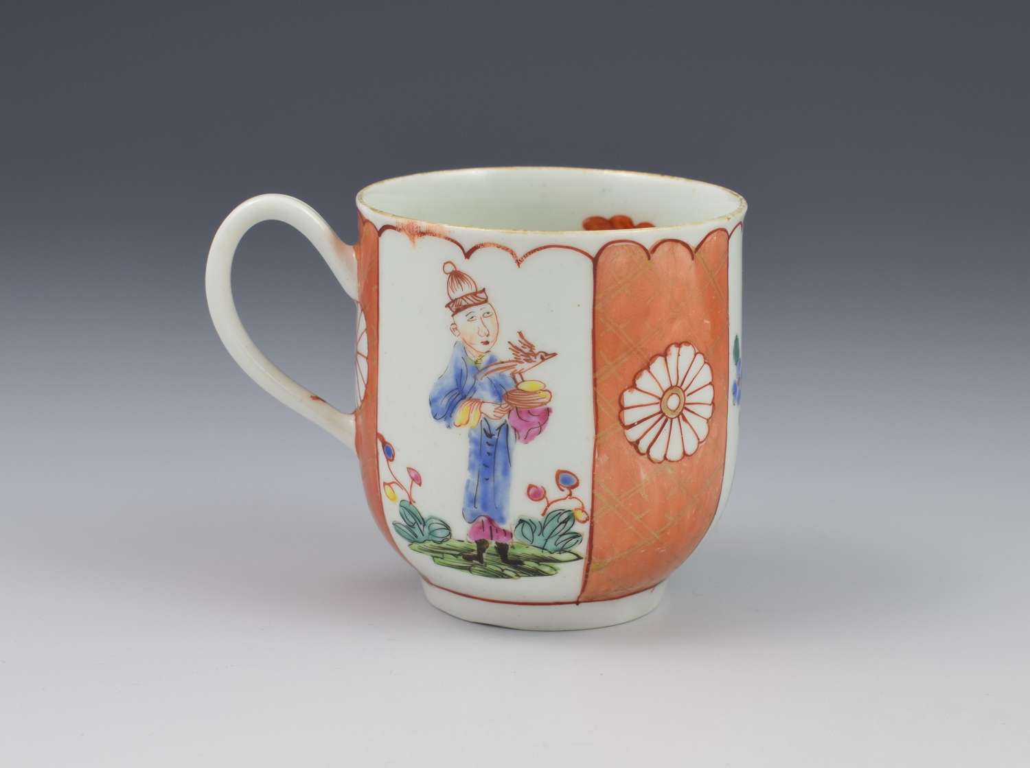 First Period Worcester Japanese Style Panelled Coffee Cup C.1770
