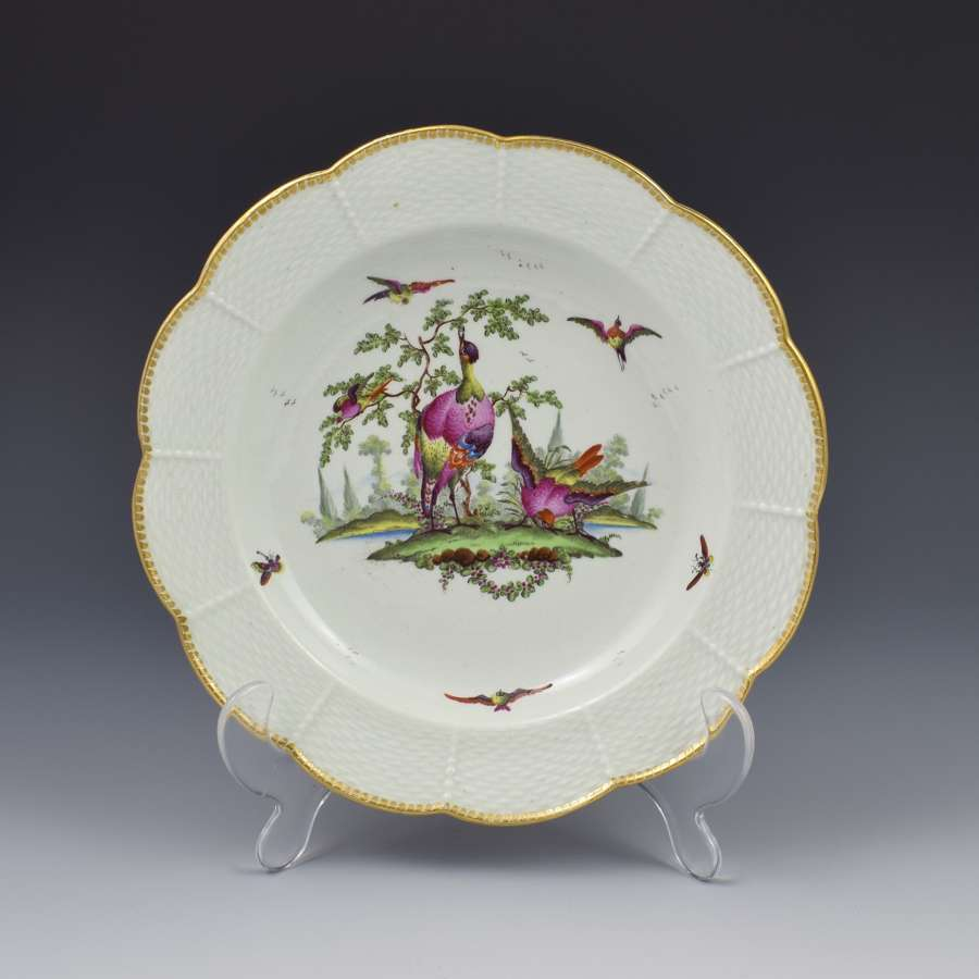 First Period Worcester Fancy Birds Dessert Plate C.1775